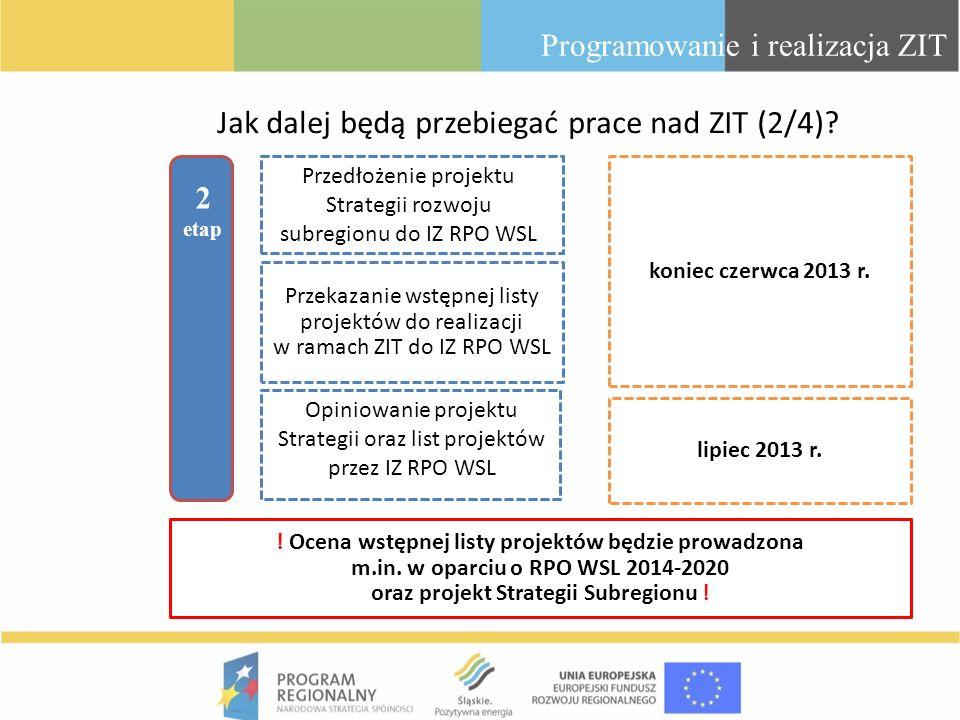 Programowanie i realizacja ZIT Jak dalej będą przebiegać prace nad ZIT (2/4)? 2 etap koniec czerwca 2013 r. Przedłożenie projektu Strategii rozwoju su