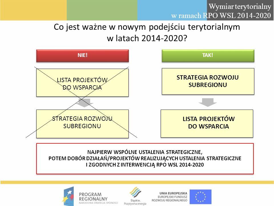 Co jest ważne w nowym podejściu terytorialnym w latach 2014-2020? LISTA PROJEKTÓW DO WSPARCIA NAJPIERW WSPÓLNE USTALENIA STRATEGICZNE, POTEM DOBÓR DZI