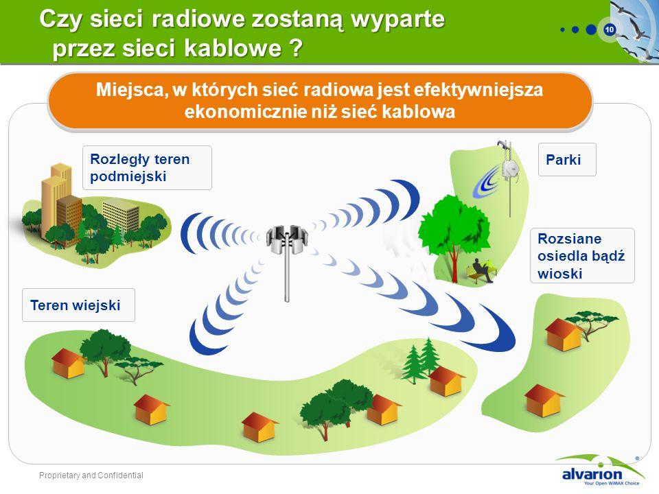 10 Miejsca, w których sieć radiowa jest efektywniejsza ekonomicznie niż sieć kablowa Proprietary and Confidential Rozległy teren podmiejski Teren wiej
