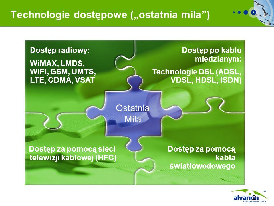 2 2 Dostęp po kablu miedzianym: Technologie DSL (ADSL, VDSL, HDSL, ISDN) Dostęp za pomocą sieci telewizji kablowej (HFC) Dostęp za pomocą kabla światł