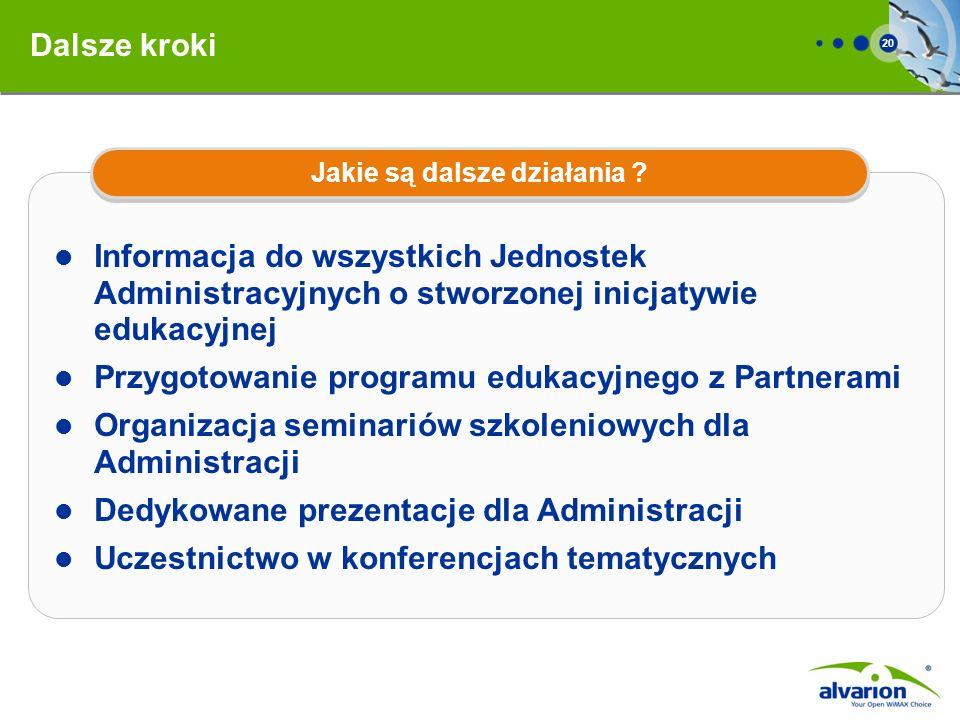 20 Informacja do wszystkich Jednostek Administracyjnych o stworzonej inicjatywie edukacyjnej Przygotowanie programu edukacyjnego z Partnerami Organiza