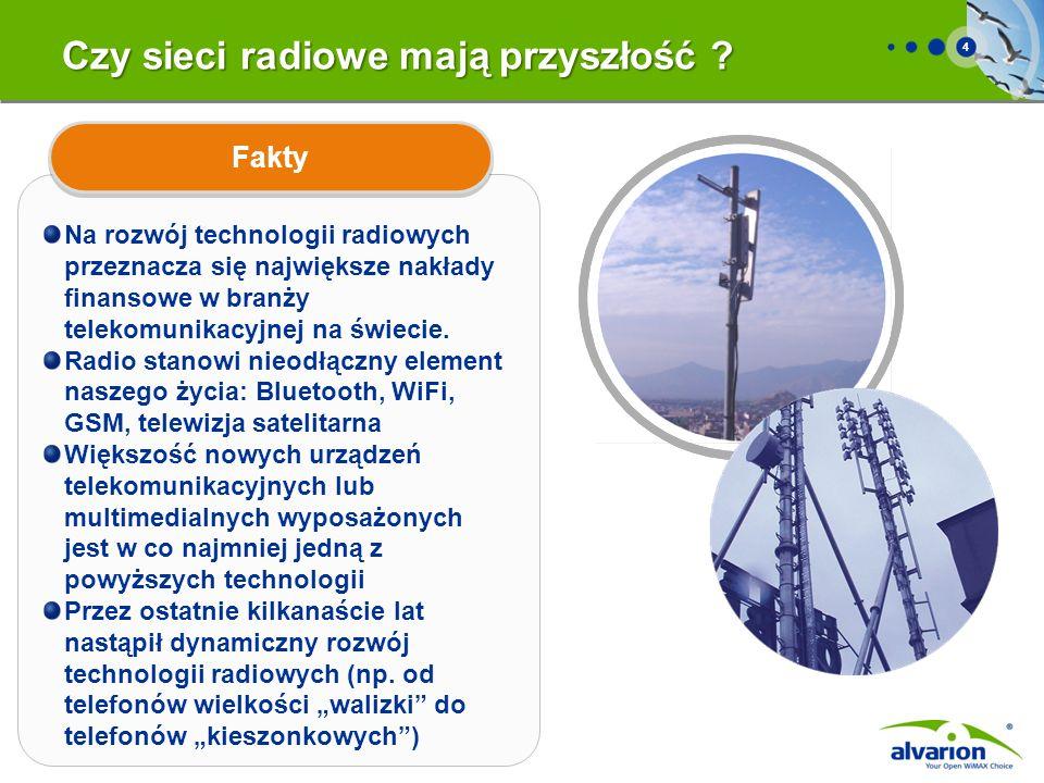 4 Czy sieci radiowe mają przyszłość ? Na rozwój technologii radiowych przeznacza się największe nakłady finansowe w branży telekomunikacyjnej na świec