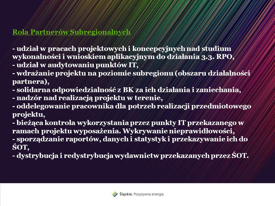 Rola Partnerów Subregionalnych - udział w pracach projektowych i koncepcyjnych nad studium wykonalności i wnioskiem aplikacyjnym do działania 3.3. RPO