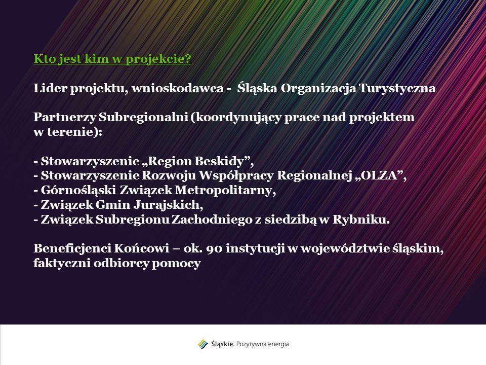 Kto jest kim w projekcie? Lider projektu, wnioskodawca - Śląska Organizacja Turystyczna Partnerzy Subregionalni (koordynujący prace nad projektem w te