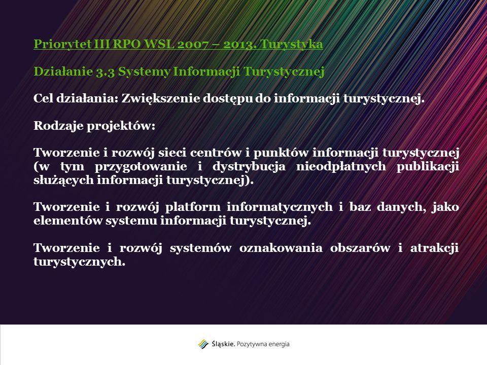 Priorytet III RPO WSL 2007 – 2013. Turystyka Działanie 3.3 Systemy Informacji Turystycznej Cel działania: Zwiększenie dostępu do informacji turystyczn
