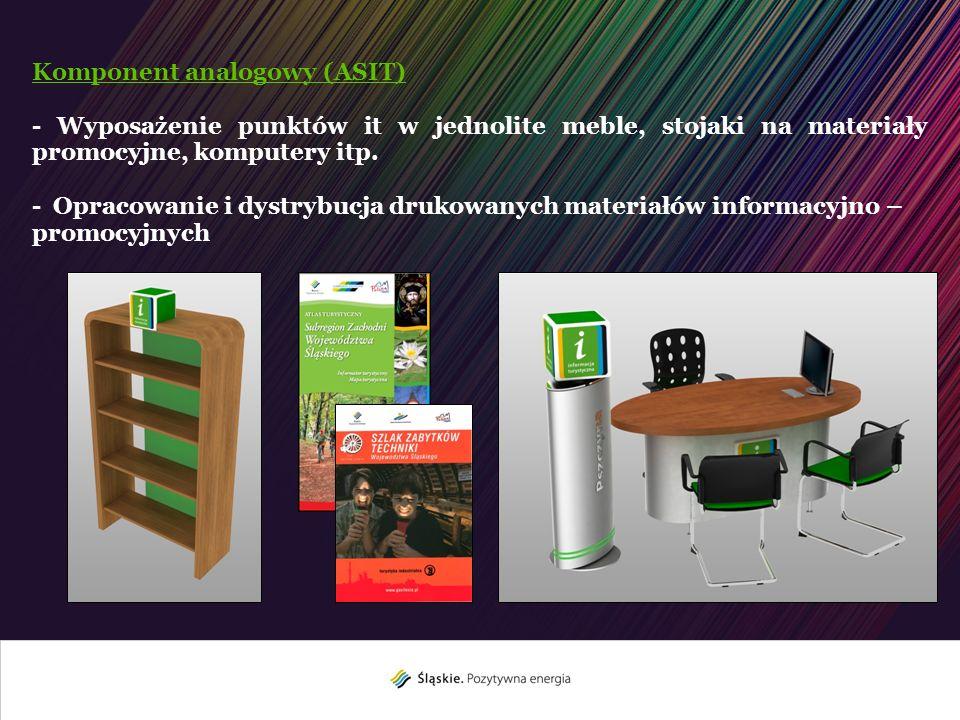 Komponent analogowy (ASIT) - Wyposażenie punktów it w jednolite meble, stojaki na materiały promocyjne, komputery itp. - Opracowanie i dystrybucja dru