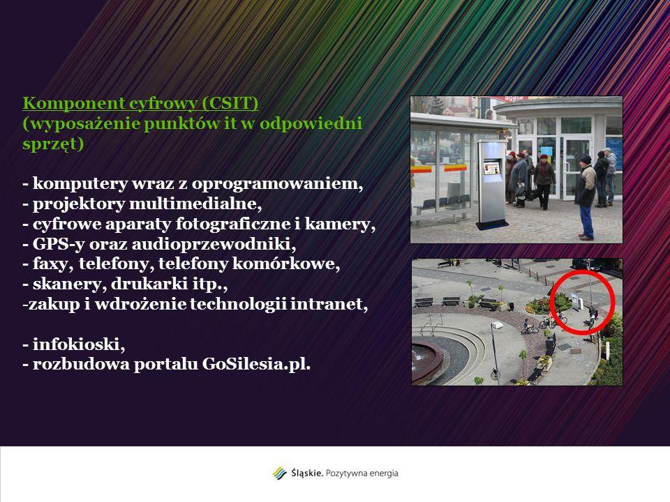 Rozbudowa GoSilesia.pl (wybrana funkcjonalność) Platforma społecznościowa, Dostęp do wybranych informacji za pośrednictwem technologii SMS, Geolokalizacja GPS obiektów i tras, Prezentacja wybranych atrakcji w formie zdjęć panoramicznych i fotografii sferycznej 360/180o, Prezentacja wybranych atrakcji w formie wektorowego obrazu 3D, Prezentacja profili tras w układzie 2D oraz 3D, Wprowadzenie tras (śladów GPS), Dodanie komentarzy głosowych do wybranych atrakcji, Zastosowanie mechanizmów wspomagających pracę osób niepełnosprawnych, Synchronizacja do stron IT oraz infokiosków.