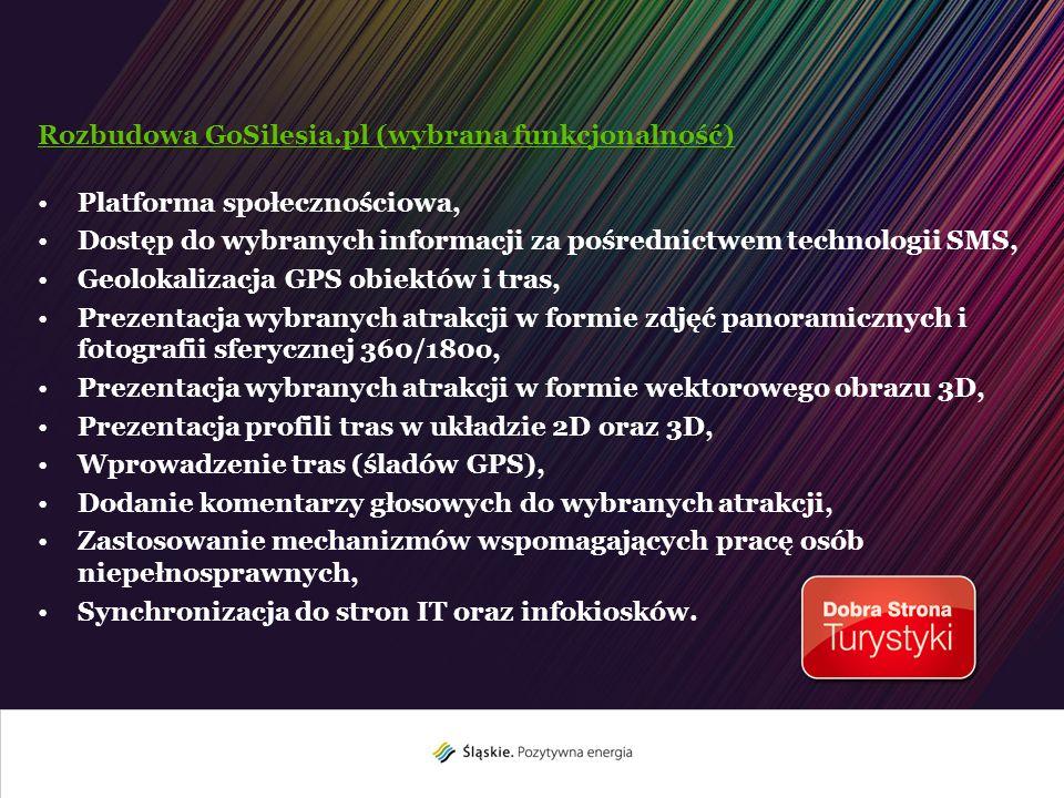 Rozbudowa GoSilesia.pl (wybrana funkcjonalność) Platforma społecznościowa, Dostęp do wybranych informacji za pośrednictwem technologii SMS, Geolokaliz