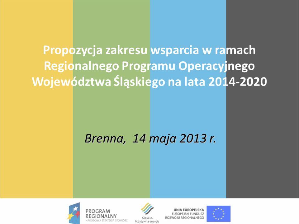 Propozycja zakresu wsparcia w ramach Regionalnego Programu Operacyjnego Województwa Śląskiego na lata 2014-2020 Brenna, 14 maja 2013 r.