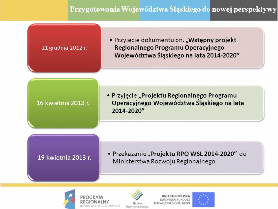 Przyjęcie dokumentu pn. Wstępny projekt Regionalnego Programu Operacyjnego Województwa Śląskiego na lata 2014-2020 21 grudnia 2012 r. Przyjęcie Projek