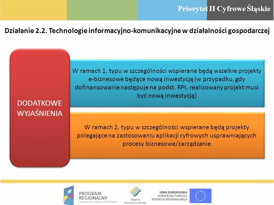 W ramach 1. typu w szczególności wspierane będą wszelkie projekty e-biznesowe będące nową inwestycją (w przypadku, gdy dofinansowanie następuje na pod