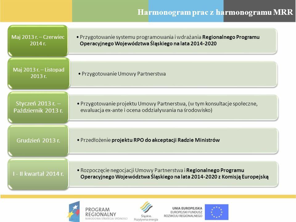 Różnice pomiędzy obecnym a przyszłym Regionalnym Programem Operacyjnym Województwa Śląskiego RPO WSL 2007-2013 był współfinansowany wyłącznie ze środków EFRR Program dwufunduszowy (EFRR + EFS) Przeznaczenie większej ilości środków na innowacje, B+R, przedsiębiorstwa, poprawę efektywności energetycznej i OZE punktowej infrastruktury społecznej (np.