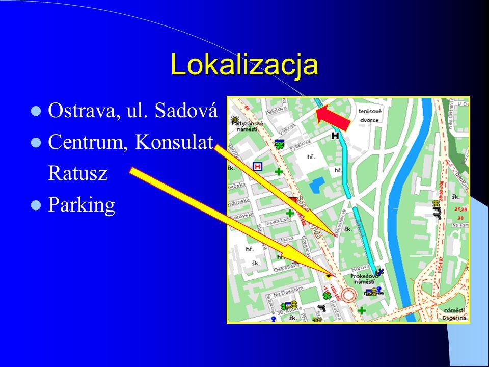Lokalizacja Ostrava, ul. Sadová Centrum, Konsulat Ratusz Parking