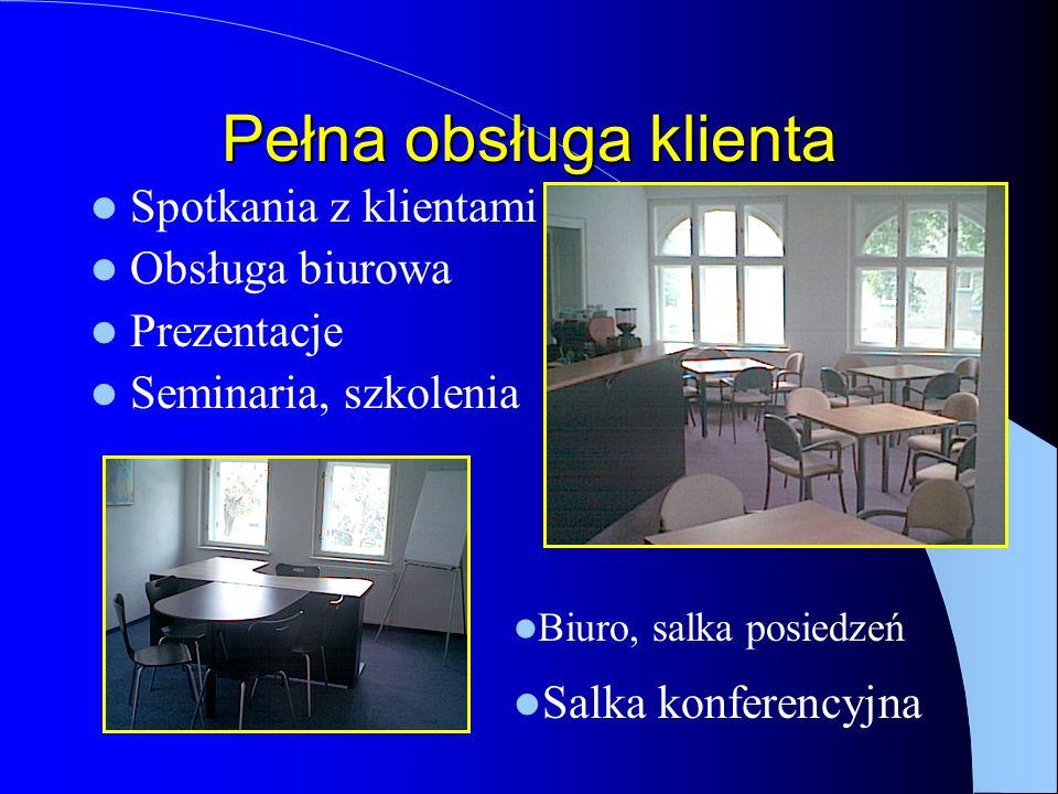 Pełna obsługa klienta Spotkania z klientami Obsługa biurowa Prezentacje Seminaria, szkolenia Biuro, salka posiedzeń Salka konferencyjna