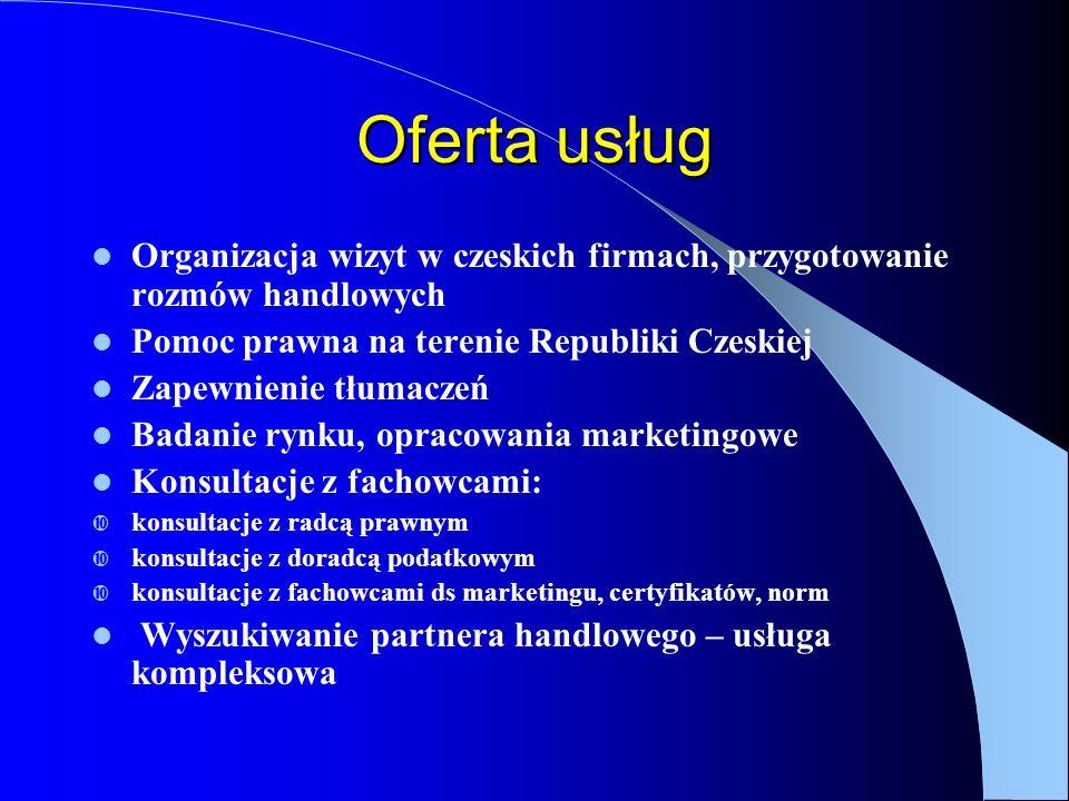 Oferta usług Organizacja wizyt w czeskich firmach, przygotowanie rozmów handlowych Pomoc prawna na terenie Republiki Czeskiej Zapewnienie tłumaczeń Badanie rynku, opracowania marketingowe Konsultacje z fachowcami: konsultacje z radcą prawnym konsultacje z doradcą podatkowym konsultacje z fachowcami ds marketingu, certyfikatów, norm Wyszukiwanie partnera handlowego – usługa kompleksowa