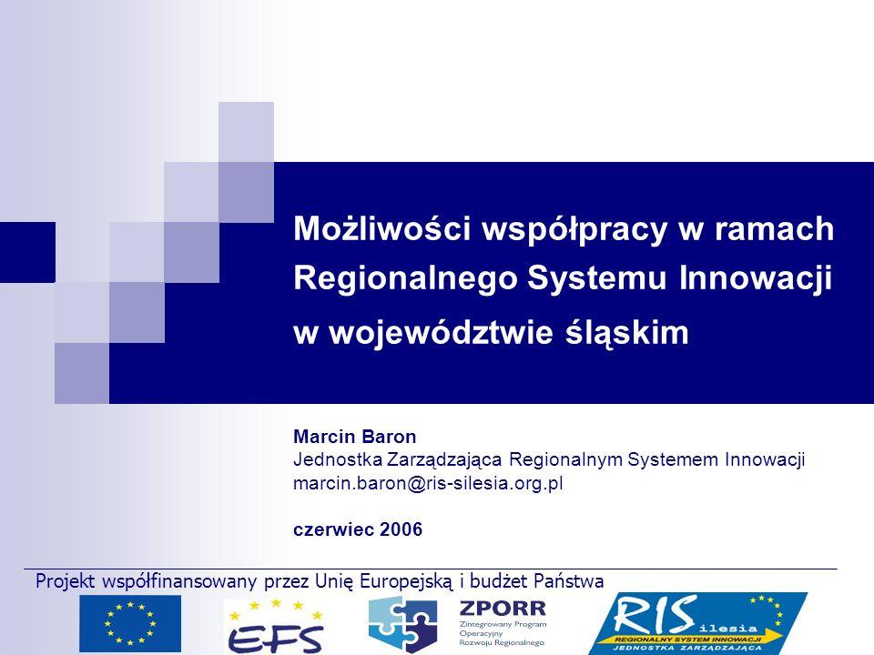 Możliwości współpracy w ramach Regionalnego Systemu Innowacji w województwie śląskim Marcin Baron Jednostka Zarządzająca Regionalnym Systemem Innowacj