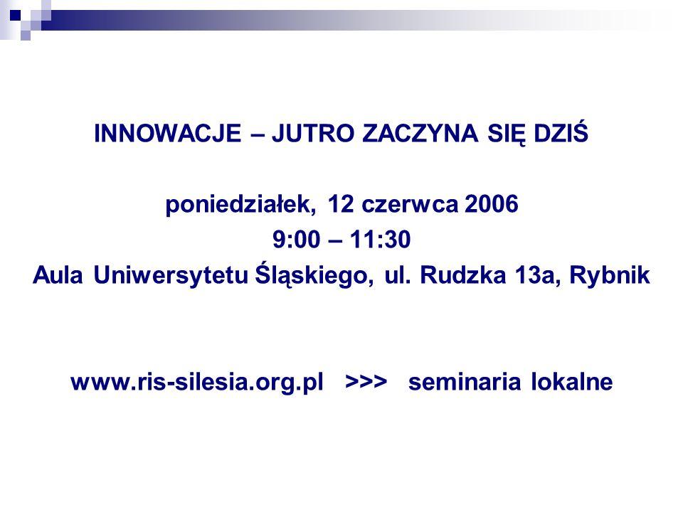 INNOWACJE – JUTRO ZACZYNA SIĘ DZIŚ poniedziałek, 12 czerwca 2006 9:00 – 11:30 Aula Uniwersytetu Śląskiego, ul. Rudzka 13a, Rybnik www.ris-silesia.org.