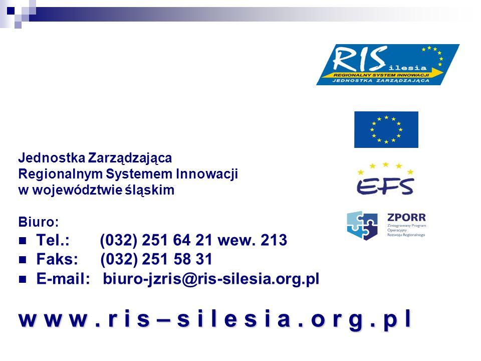 Jednostka Zarządzająca Regionalnym Systemem Innowacji w województwie śląskim Biuro: Tel.: (032) 251 64 21 wew. 213 Faks: (032) 251 58 31 E-mail: biuro