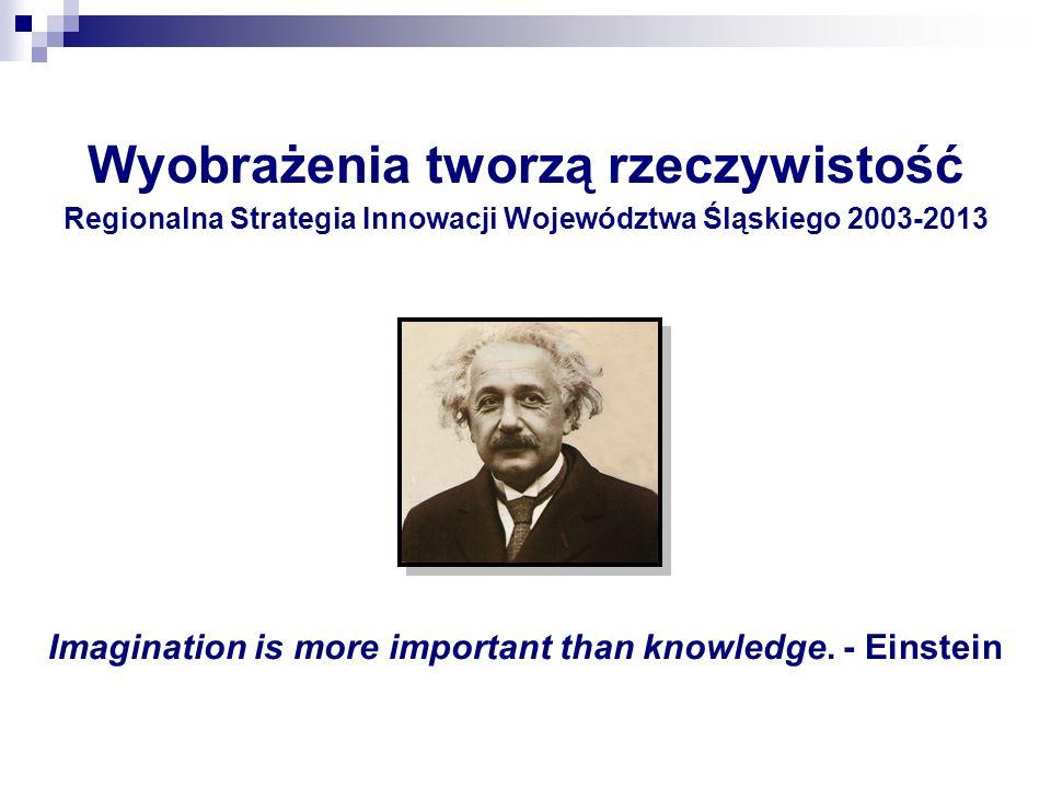 Wyobrażenia tworzą rzeczywistość Regionalna Strategia Innowacji Województwa Śląskiego 2003-2013 Imagination is more important than knowledge. - Einste