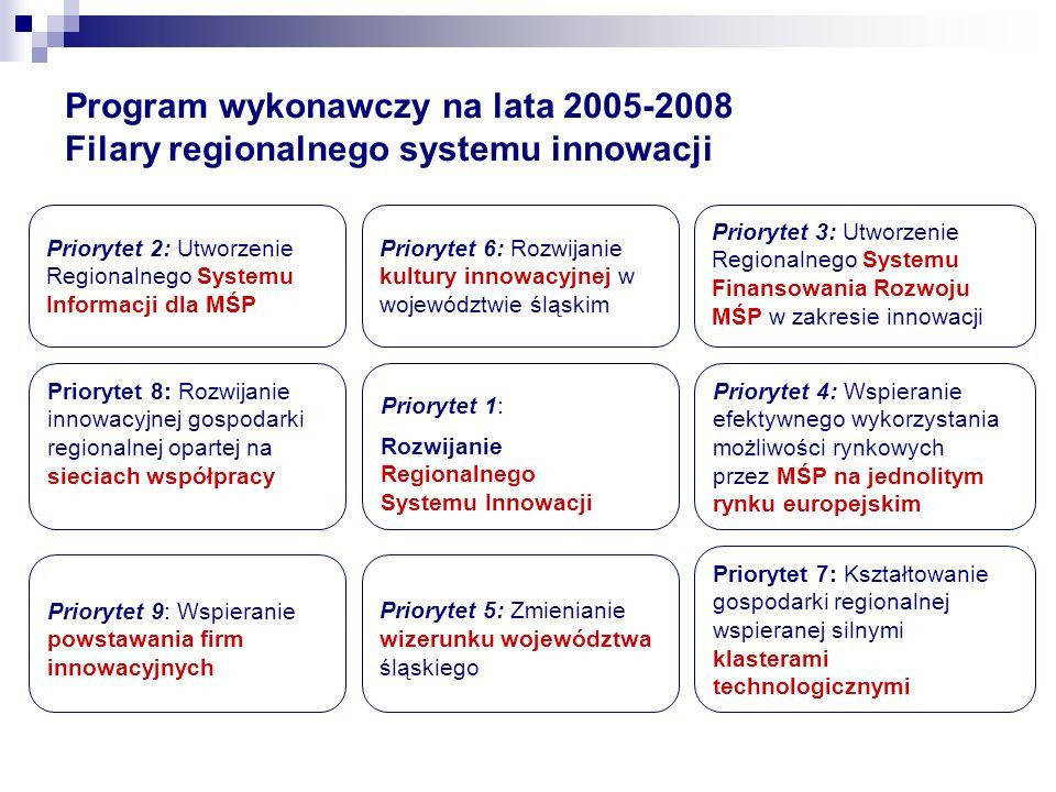 Program wykonawczy na lata 2005-2008 Filary regionalnego systemu innowacji Priorytet 2: Utworzenie Regionalnego Systemu Informacji dla MŚP Priorytet 3
