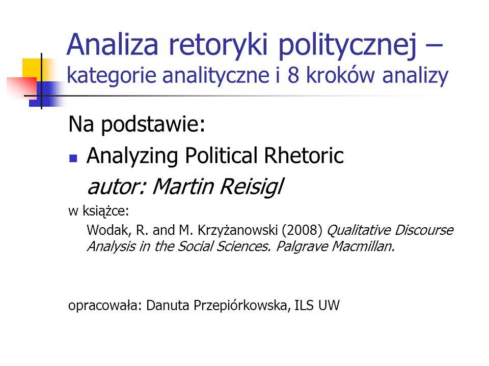 Analiza retoryki politycznej – kategorie analityczne i 8 kroków analizy Na podstawie: Analyzing Political Rhetoric autor: Martin Reisigl w książce: Wo