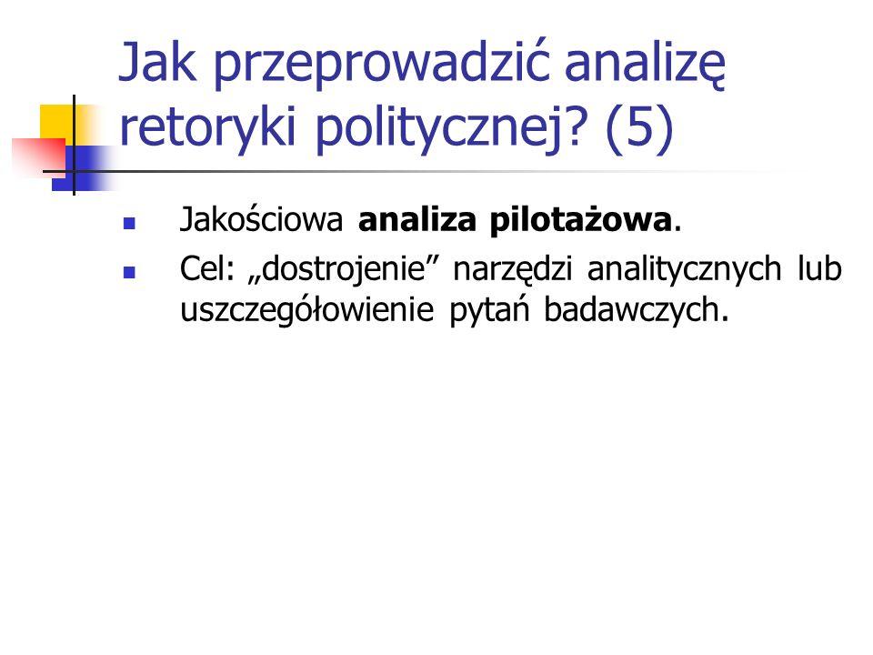 Jak przeprowadzić analizę retoryki politycznej? (5) Jakościowa analiza pilotażowa. Cel: dostrojenie narzędzi analitycznych lub uszczegółowienie pytań