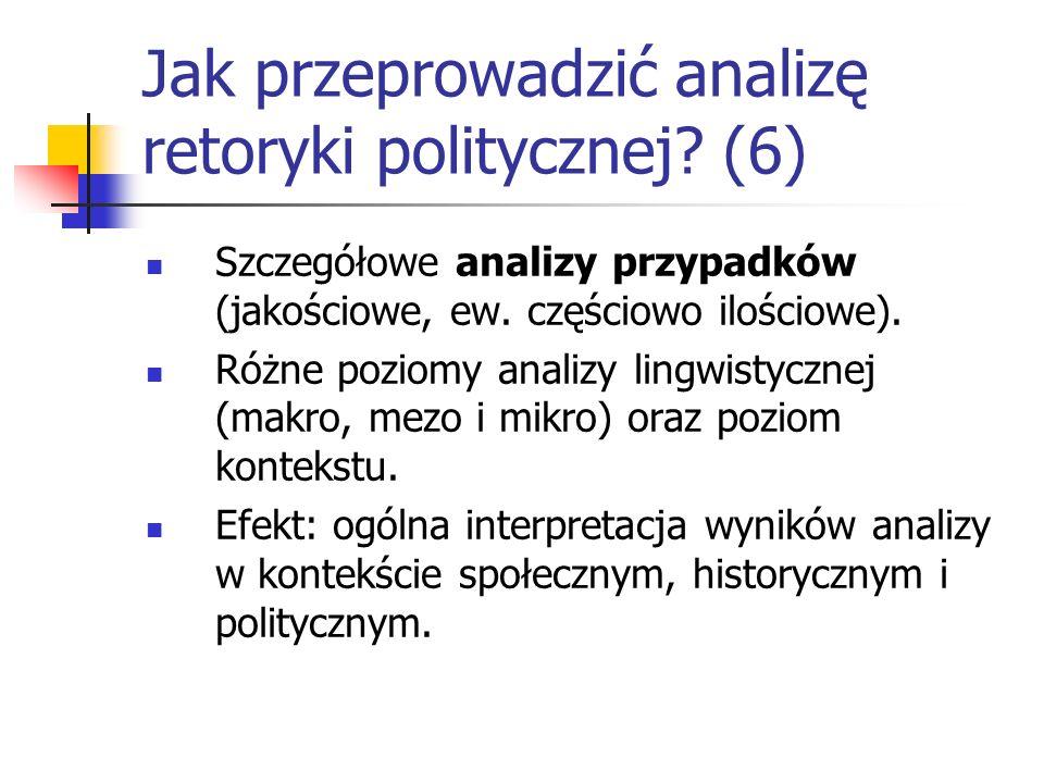Jak przeprowadzić analizę retoryki politycznej? (6) Szczegółowe analizy przypadków (jakościowe, ew. częściowo ilościowe). Różne poziomy analizy lingwi