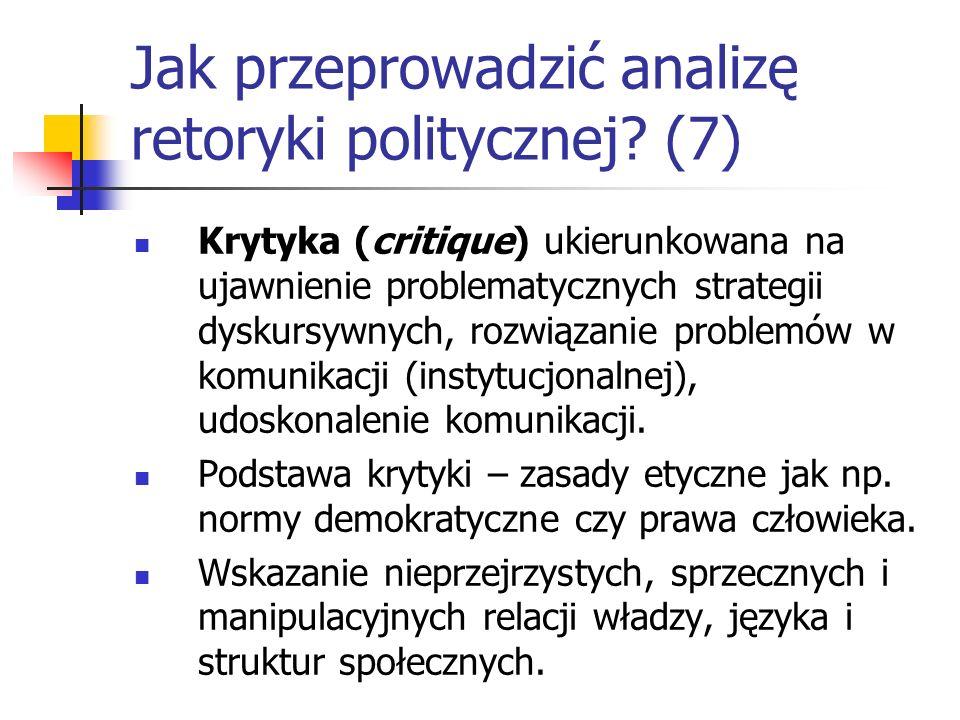 Jak przeprowadzić analizę retoryki politycznej? (7) Krytyka (critique) ukierunkowana na ujawnienie problematycznych strategii dyskursywnych, rozwiązan