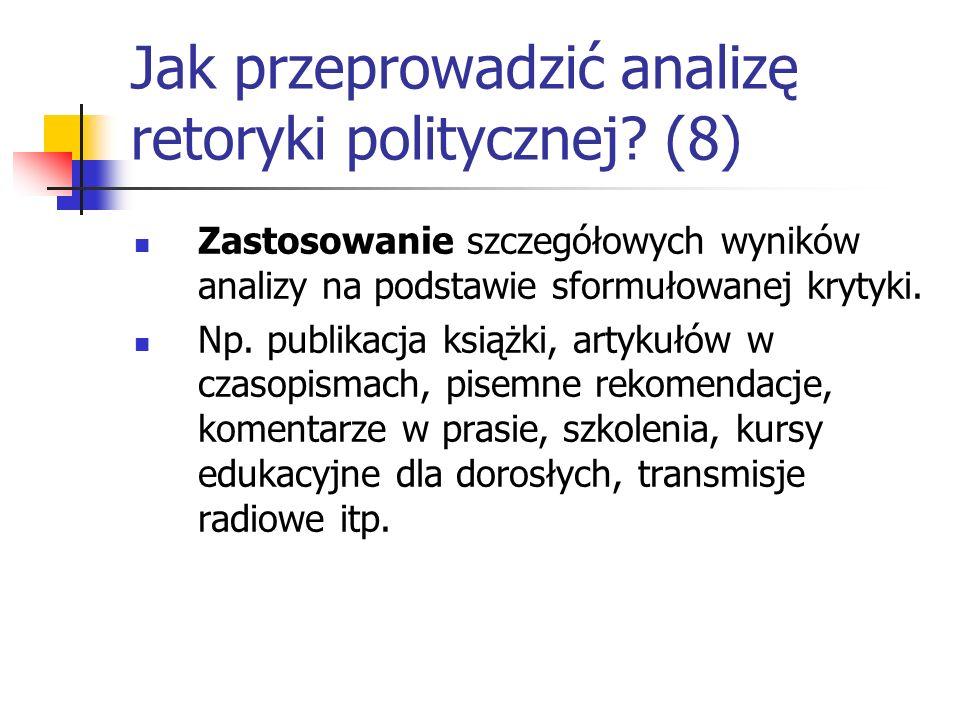 Jak przeprowadzić analizę retoryki politycznej? (8) Zastosowanie szczegółowych wyników analizy na podstawie sformułowanej krytyki. Np. publikacja ksią