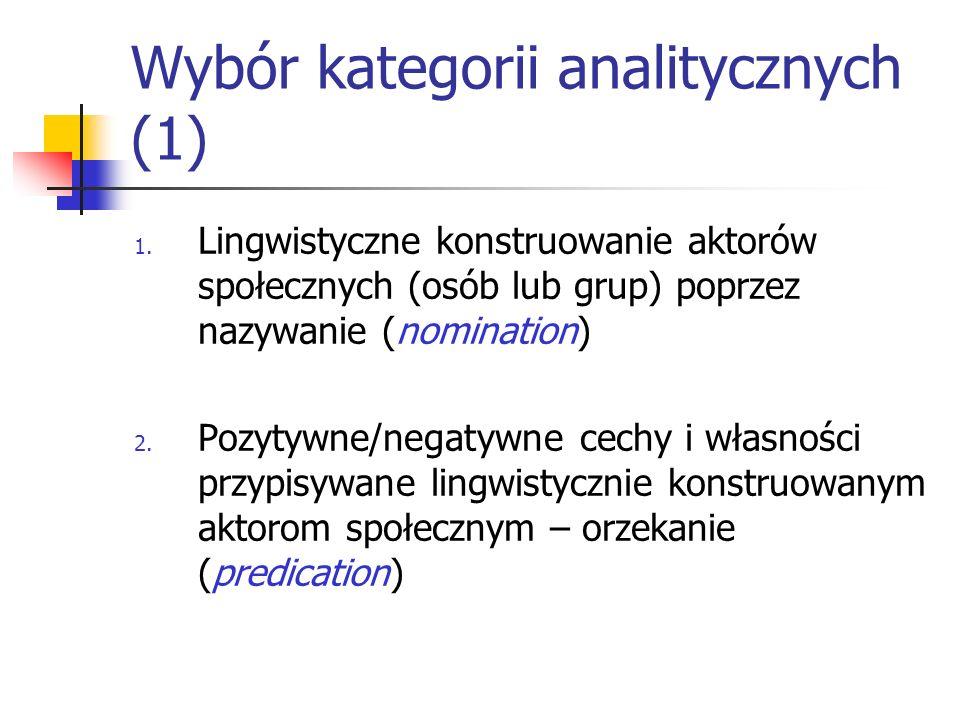 Wybór kategorii analitycznych (1) 1. Lingwistyczne konstruowanie aktorów społecznych (osób lub grup) poprzez nazywanie (nomination) 2. Pozytywne/negat