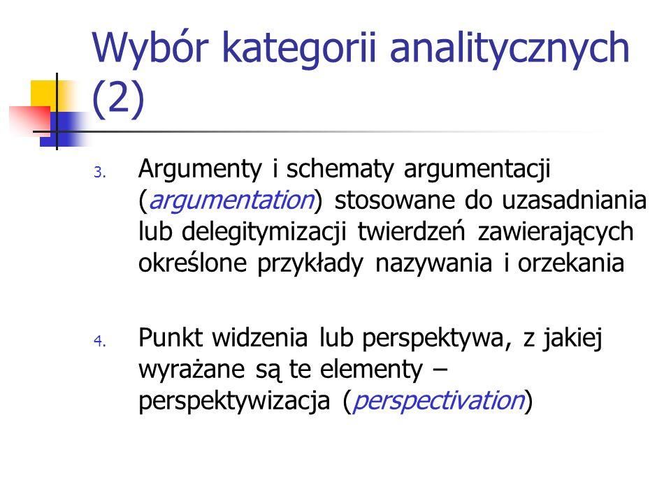 Wybór kategorii analitycznych (2) 3. Argumenty i schematy argumentacji (argumentation) stosowane do uzasadniania lub delegitymizacji twierdzeń zawiera