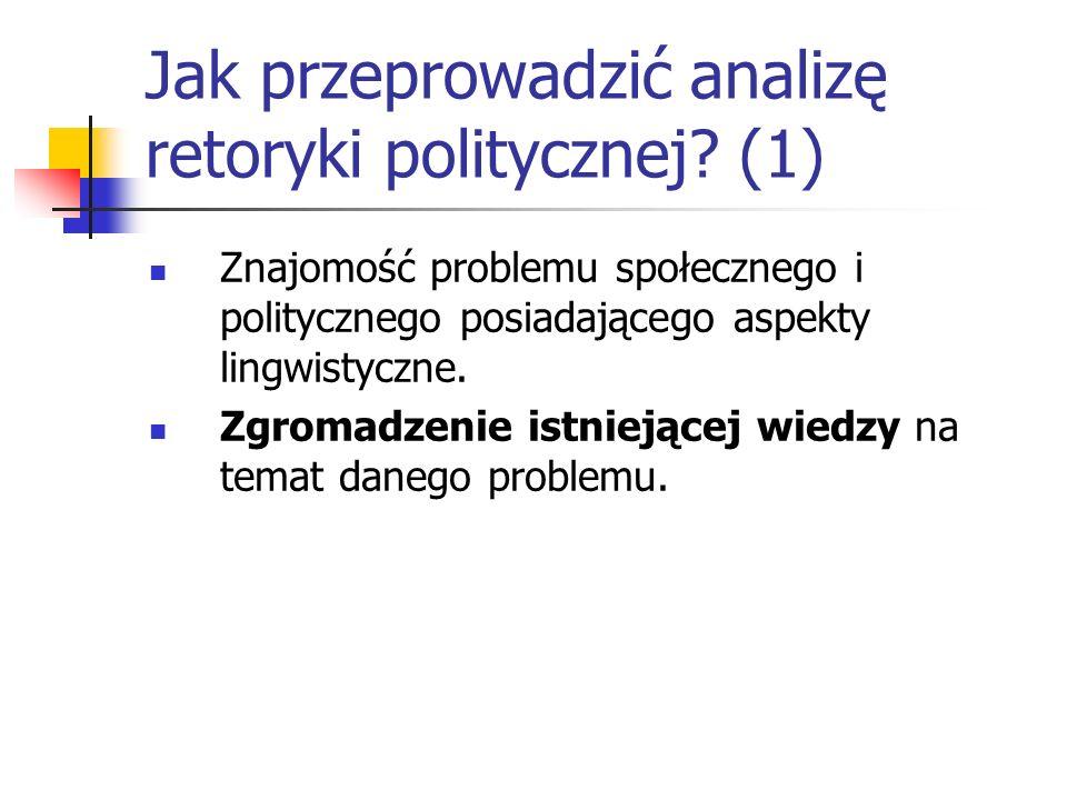 Jak przeprowadzić analizę retoryki politycznej? (1) Znajomość problemu społecznego i politycznego posiadającego aspekty lingwistyczne. Zgromadzenie is