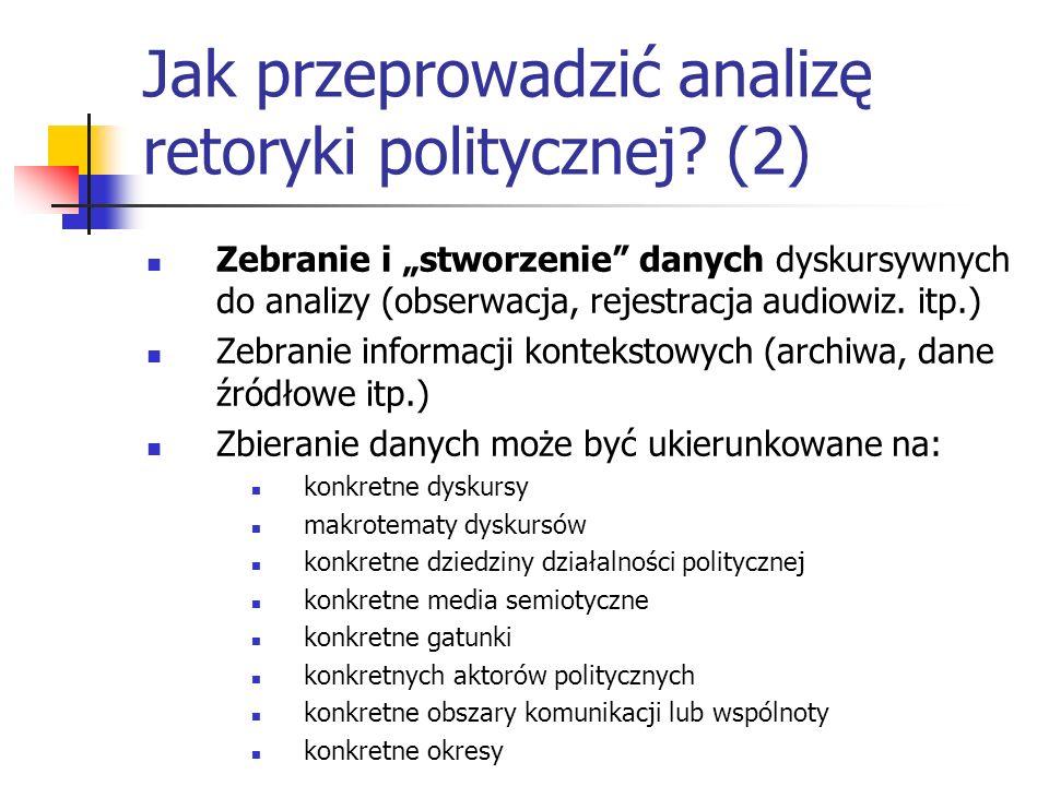 Jak przeprowadzić analizę retoryki politycznej? (2) Zebranie i stworzenie danych dyskursywnych do analizy (obserwacja, rejestracja audiowiz. itp.) Zeb
