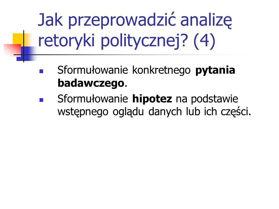 Jak przeprowadzić analizę retoryki politycznej? (4) Sformułowanie konkretnego pytania badawczego. Sformułowanie hipotez na podstawie wstępnego oglądu