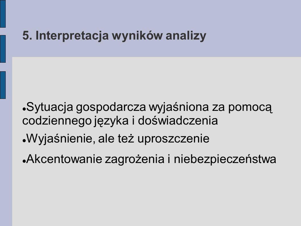 5. Interpretacja wyników analizy Sytuacja gospodarcza wyjaśniona za pomocą codziennego języka i doświadczenia Wyjaśnienie, ale też uproszczenie Akcent