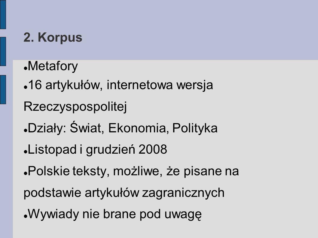 2. Korpus Metafory 16 artykułów, internetowa wersja Rzeczyspospolitej Działy: Świat, Ekonomia, Polityka Listopad i grudzień 2008 Polskie teksty, możli