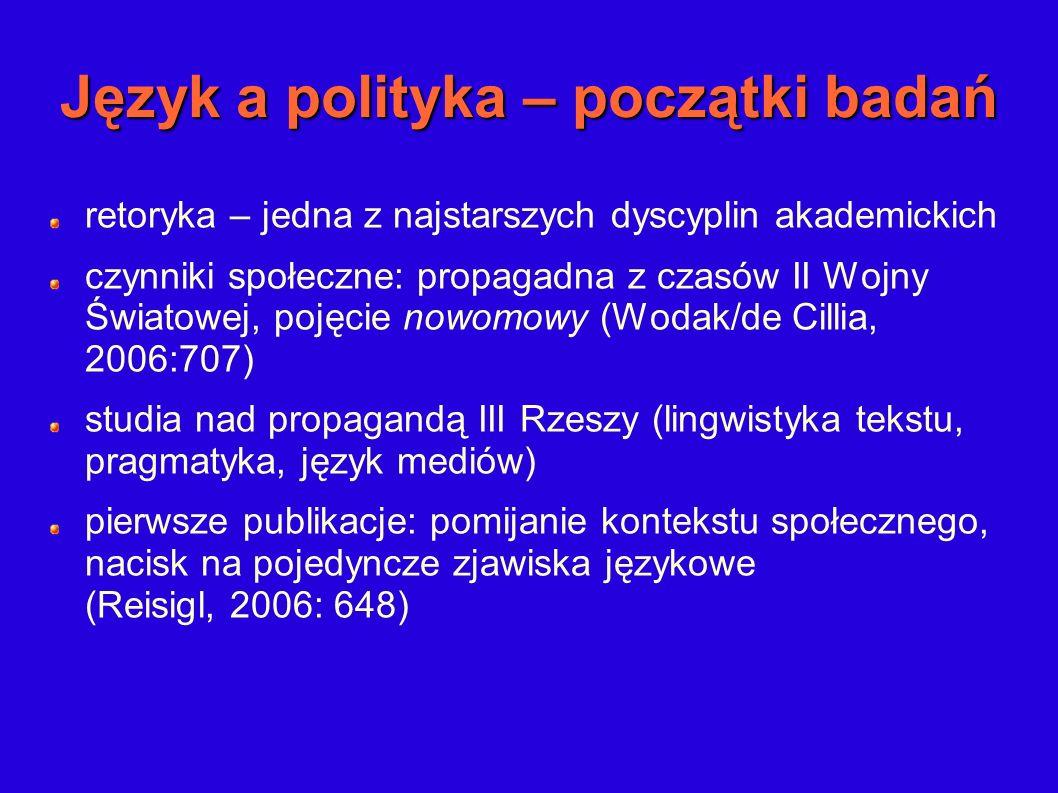 Język a polityka – początki badań retoryka – jedna z najstarszych dyscyplin akademickich czynniki społeczne: propagadna z czasów II Wojny Światowej, p