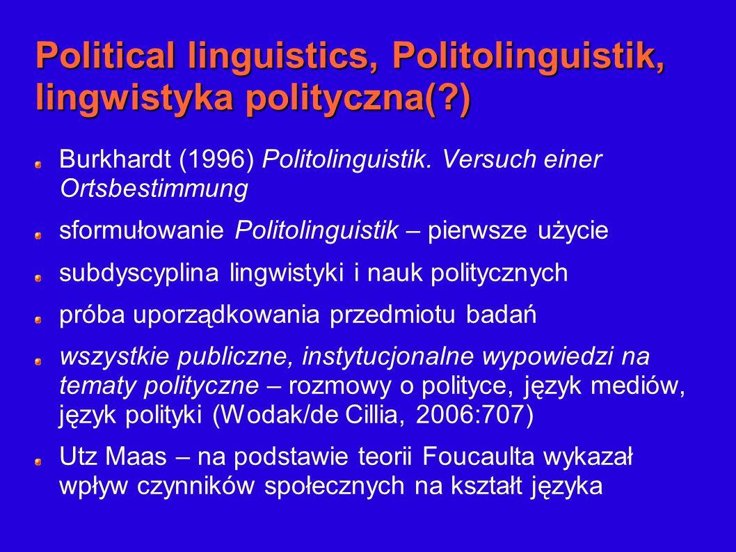 Political linguistics, Politolinguistik, lingwistyka polityczna(?) Burkhardt (1996) Politolinguistik. Versuch einer Ortsbestimmung sformułowanie Polit