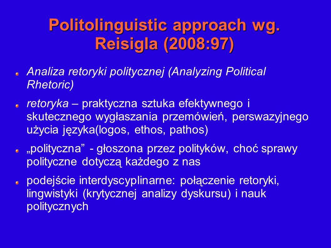 Politolinguistic approach wg. Reisigla (2008:97) Analiza retoryki politycznej (Analyzing Political Rhetoric) retoryka – praktyczna sztuka efektywnego