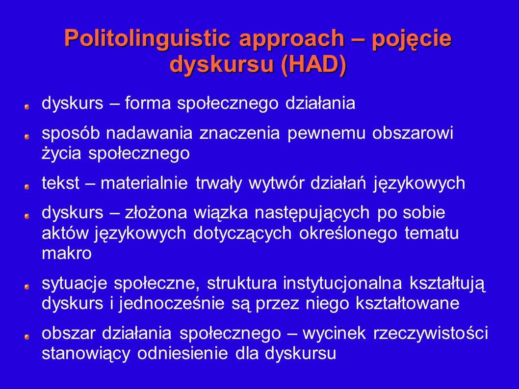 Politolinguistic approach – pojęcie dyskursu (HAD) dyskurs – forma społecznego działania sposób nadawania znaczenia pewnemu obszarowi życia społeczneg