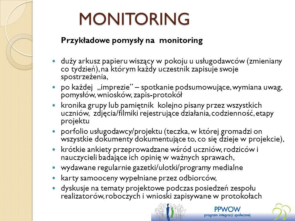 MONITORING Przykładowe pomysły na monitoring duży arkusz papieru wiszący w pokoju u usługodawców (zmieniany co tydzień), na którym każdy uczestnik zap