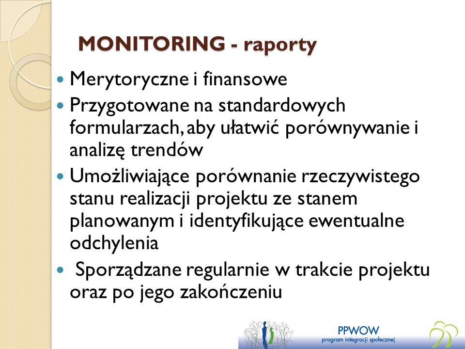 MONITORING - raporty Merytoryczne i finansowe Przygotowane na standardowych formularzach, aby ułatwić porównywanie i analizę trendów Umożliwiające por