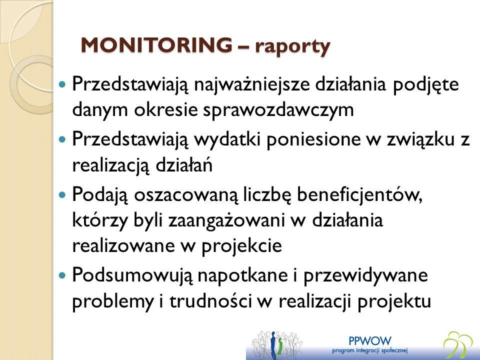 MONITORING – raporty Przedstawiają najważniejsze działania podjęte danym okresie sprawozdawczym Przedstawiają wydatki poniesione w związku z realizacj