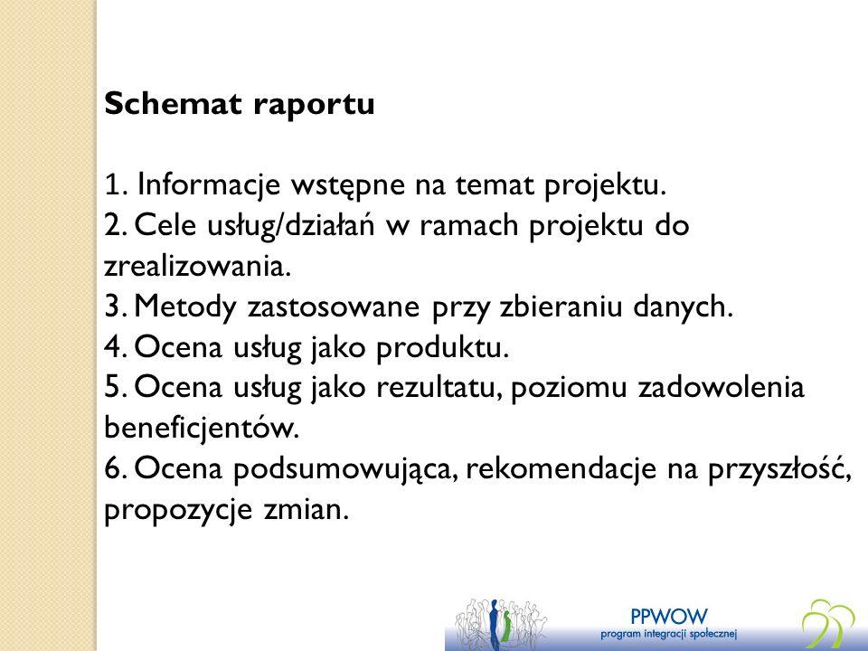 Schemat raportu 1. Informacje wstępne na temat projektu. 2. Cele usług/działań w ramach projektu do zrealizowania. 3. Metody zastosowane przy zbierani