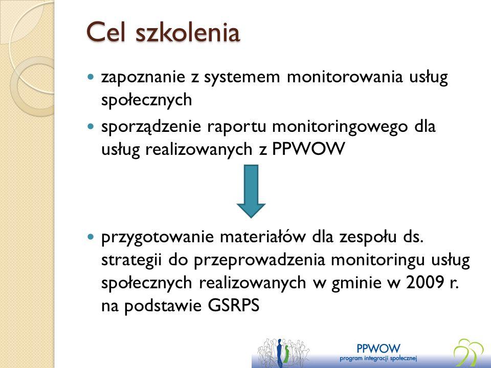 Cel szkolenia zapoznanie z systemem monitorowania usług społecznych sporządzenie raportu monitoringowego dla usług realizowanych z PPWOW przygotowanie