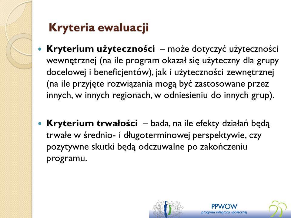 Kryteria ewaluacji Kryterium użyteczności – może dotyczyć użyteczności wewnętrznej (na ile program okazał się użyteczny dla grupy docelowej i beneficj