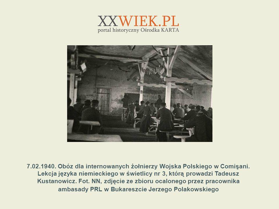7.02.1940. Obóz dla internowanych żołnierzy Wojska Polskiego w Comişani. Lekcja języka niemieckiego w świetlicy nr 3, którą prowadzi Tadeusz Kustanowi
