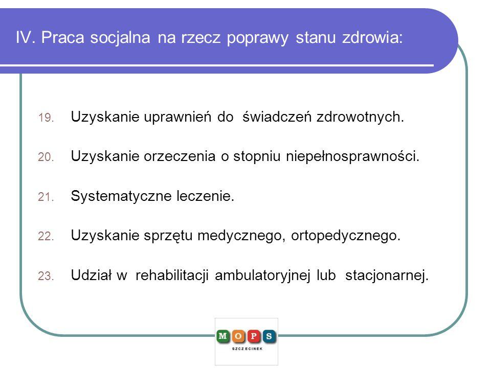 IV. Praca socjalna na rzecz poprawy stanu zdrowia: 19. Uzyskanie uprawnień do świadczeń zdrowotnych. 20. Uzyskanie orzeczenia o stopniu niepełnosprawn