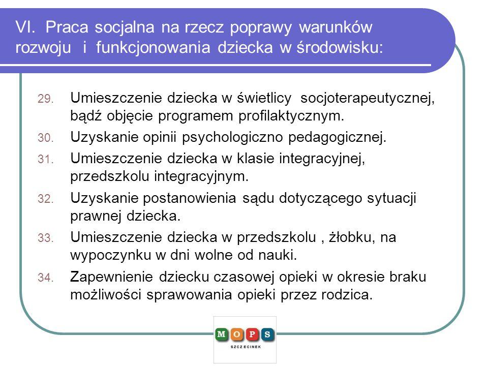 VI. Praca socjalna na rzecz poprawy warunków rozwoju i funkcjonowania dziecka w środowisku: 29. Umieszczenie dziecka w świetlicy socjoterapeutycznej,