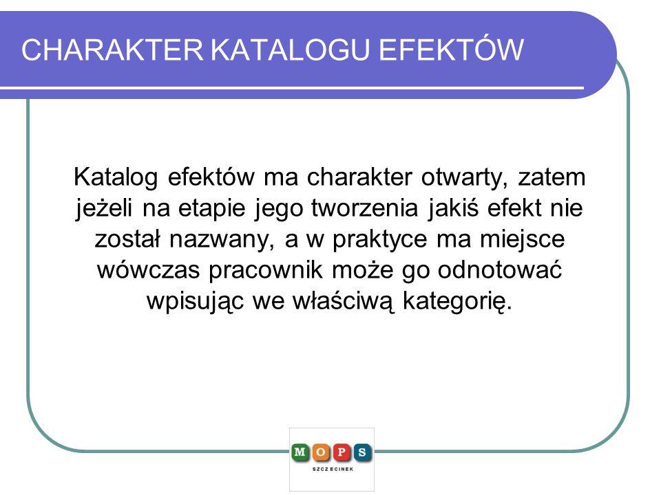 CHARAKTER KATALOGU EFEKTÓW Katalog efektów ma charakter otwarty, zatem jeżeli na etapie jego tworzenia jakiś efekt nie został nazwany, a w praktyce ma